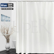 Extra Long Fabric Waterproof Shower Curtain With Hooks Weighted Hem 180x200cm AU