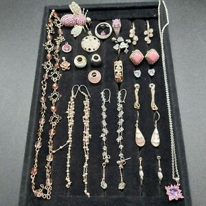 Sterling Silver Pink/White Mixed Jewelry Lot Ring Necklace Earrings Pendant...