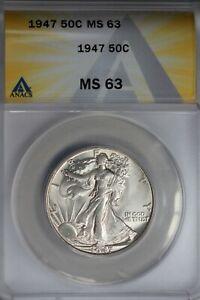 1947  .50   ANACS   MS 63   Walking Liberty, Half Dollar, Lady Liberty Half