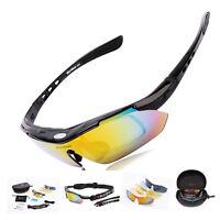 Cycling Riding Bicycle Bike UV400 Sports Sun Glasses Eyewear Goggles + 5 Lens