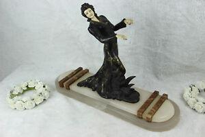 XL ART DECO 1930 french elegance lady statue marble onyx base spelter ivorine