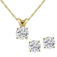 Diamond Solitaire Necklace & Studs Earrings Set 3/4 Carat tw 14K Yellow Gold