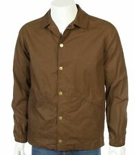 New GLOVERALL Mens Brown Waterproof Shower Proof Coach Harrington Jacket Size S