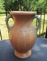 "Arts & Crafts NELSON McCOY Pottery MELON VASE 12.5"" Matte Pink/Brown Green 1940s"