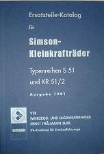 Ersatzteile-Katalog Ersatzteilliste Simson S51 Schwalbe KR51/2 Ausgabe 1981 Buch