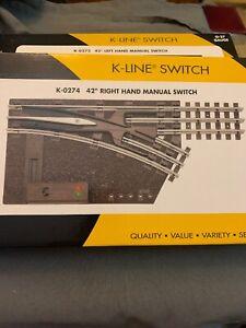 """K-line Switch K-0274 O-27 42"""" Manual Switch RH New"""