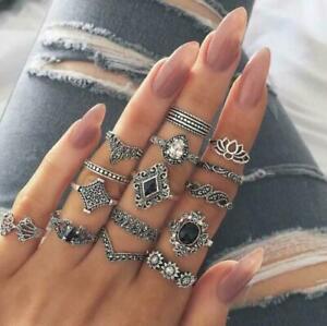 15Pcs Sets Ring Boho Lotus Sunflower Black Gem Finger Rings Knuckle Midi Jewelry