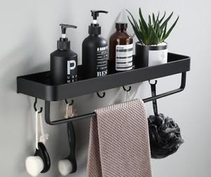 Wall Bathroom Shelf Qrganizer Black Aluminum Shelf Shower Storage Rack Hanger