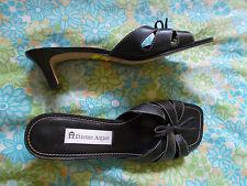 "Etienne Aigner Steel 9M Black Slide 2"" Stacked Heel Leather"