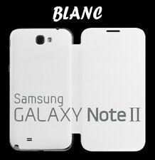 Housse Etui Flip Cover Blanc Samsung Galaxy Note 2 N7100 N7105