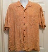 Tommy Bahama Shirt L Orange Floral Button Front Short Sleeve Hawaiian Aloha