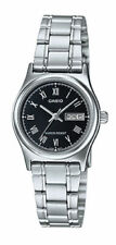 NEW Casio LTP-V006D-1B Women's Stainless Steel Watch Roman Black Dial Day Date
