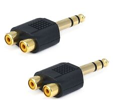 2x Stereo 6.35mm 1/4 Inch Male Plug to 2 RCA Female Jack Audio Adapter Splitter