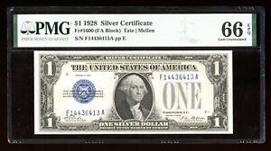 DBR 1928 $1 Silver Gem Fr. 1600 FA Block PMG 66 EPQ Serial F14436413A