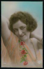 bo13 Lady flapper woman art deco glamour fashion tinted c1920s photo postcard