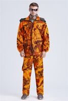 Blaze Orange Camo Ghillie Suit Waterproof Sniper Tactical Jacket & Pants Set