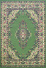 Traditional 112 G Green Beige Budget KESHAN Rug in various sizes and runner