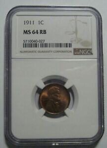 = 1911 NGC MS64 RB Lincoln WHEAT Cent, Super EYE Appeal, FREE Shipping
