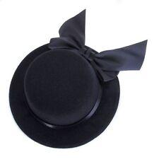 Ladies Mini Top Hat Fascinator Burlesque Millinery w/ Bowknot - Black CT S2J8