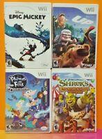 Nintendo Wii & Wii U Disney Game Lot Up, Shrek Craze, Epic Mickey, Phineas Ferb