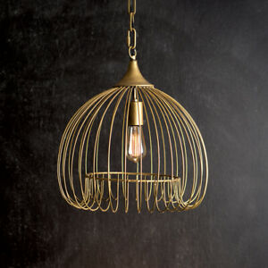 Antiqued Brass Wire Hanging Pendant Light
