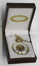 "POCKET WATCH, NEW&MINT, GOLD COLOR ""PWC"", WIND UP. FULLY WORKING, CHAIN & BOX"