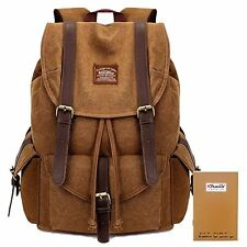 KAUKKO Large Canvas Leather Backpack Stylish Rucksack Casual Backpacks Satche...