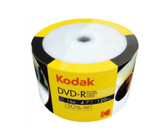 100 Kodak 16X Blank DVD-R DVDR 4.7GB Logo Top Media Disc