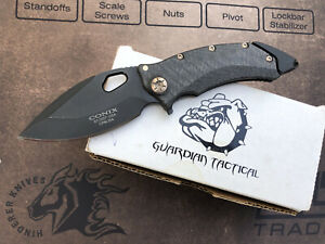 Guardian Tactical Conix MANUAL ACTION Knife CF w/ Bronzed Hardware Microtech