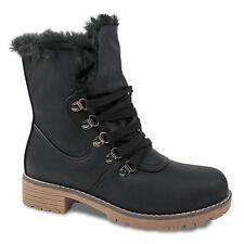 Damen Stiefeletten Gr. 41 gefüttert Schwarz Boots Stiefel Winter NEU Outdoor