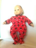 Bitty Baby Red Christmas Scottie dog santa sleeper pajamas 15 doll clothes fit