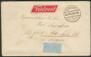 Deutsche Feldpost Brief an Karl Schwaderer Res.-Feld-Div-Rgt. 116 9.Batterie