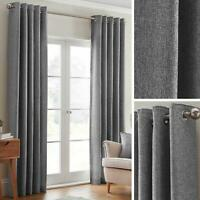 Grey Eyelet Curtains Plain Textured Woven Ready Made Ring Top Curtain Pairs