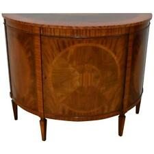Flamed Mahogany Demilune by Baker Furniture, Historic Charleston Collection