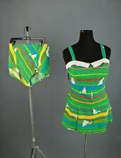 Vtg Women's 60s 70s Ceeb Green 2 Pc Swimsuit Set Sz L 1960s 1970s Swimming Suit