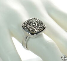 Solid 925 Sterling Silver Cushion Cut Grey Druzy Cocktail Ring Size 9 '