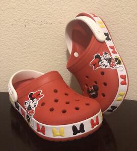 Disney Crocband Crocs Minnie Mouse Girls Size 1 J Junior Red Shoes