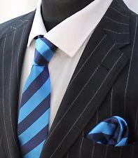 Tie Neck tie with Handkerchief Dark Blue / Electric Blue Stripe