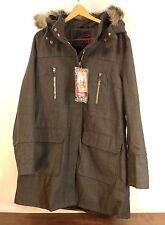 "NWT Womens Yoki Dark Gray Faux Fur Pea Coat Long Jacket  21"" Chest -Retails $108"