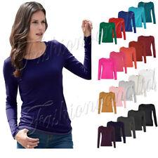 New Women Long Sleeve Round Neck Plain Look Ladies Stretch T-Shirt Top Plus Size