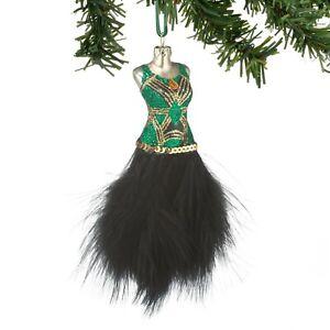 4048522 Dept 56 Art Deco Flapper Dress Glass Christmas Ornament Feather Skirt