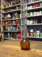BRT Vintage Decorative Retro Murano Italy Single Stem Amber Glass Bud Vase