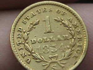 1854-S $1 Gold Liberty Head One Dollar Coin- Very Rare Date