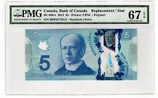 "Canada $5 2013 BC-69bA PMG Superb GEM UNC 67 EPQ "" Single Note Replacement """