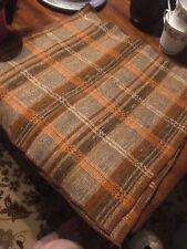 Set Of 4 Vintage Plaid Napkins Square 16 X 16 Choc Orange Tan