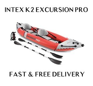 Intex K2 Excursion Pro 2 Person Kayak Dinghy Canoe + Oars + Pump - FAST DELIVERY
