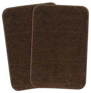 35X50CM Striped Well Stitched Bath Mat Made From Microfiber(Set Of 2,BrownColor)