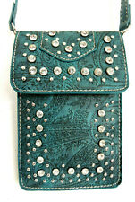 Embossed Teal Touch Screen Crossbody Universal Cell Phone Case Rhinestones
