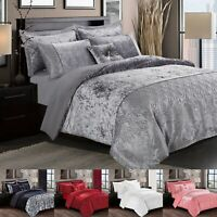 Luxury 3 Piece Crushed Velvet Duvet Quilt Cover Bedding Set Double Super King UK