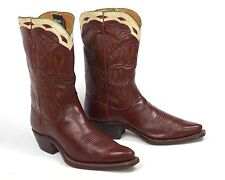 50's Nocona Cowboy Boots Womens 6B Vtg Brown Shorty Pee Wee Inlaid Cloth Pulls